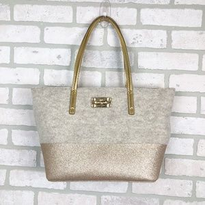 Kate Spade Wool and Gold Glitter Large Tote Bag
